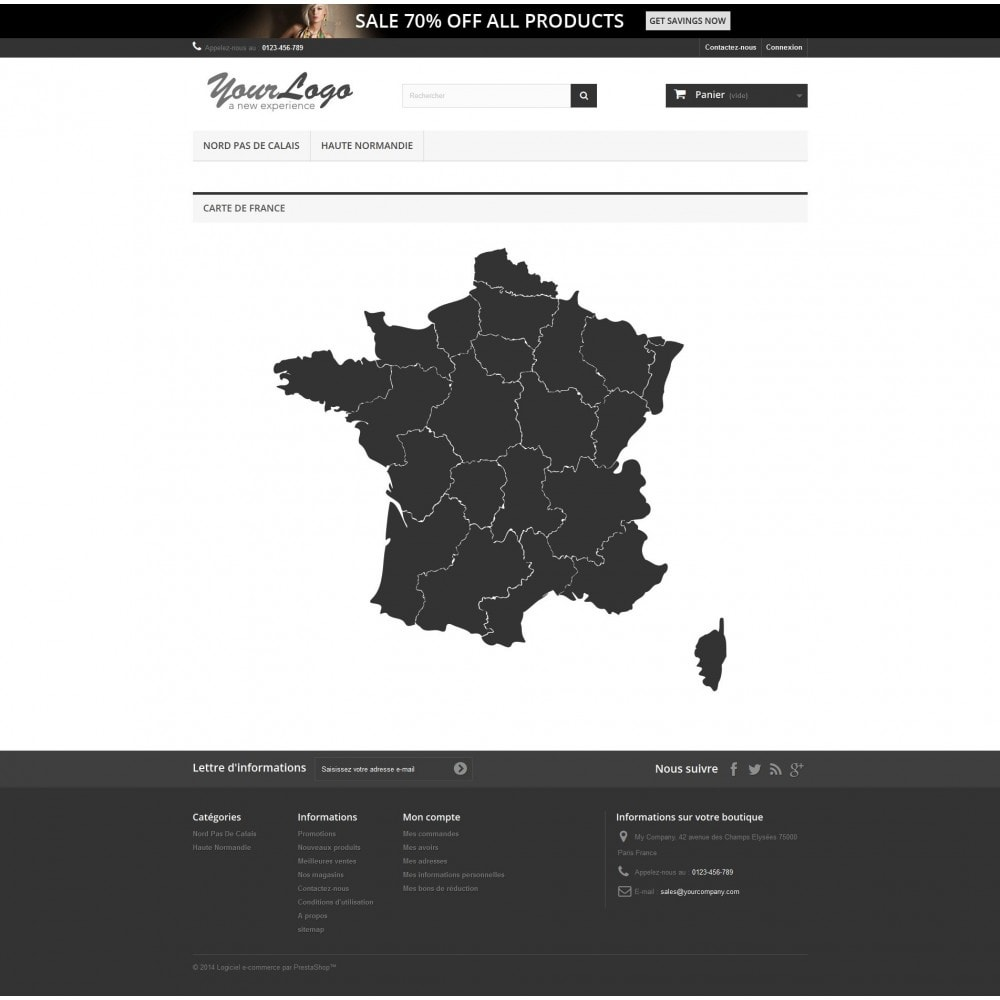 module - Lingue & Traduzioni - Interactive et responsive design map of France - 3