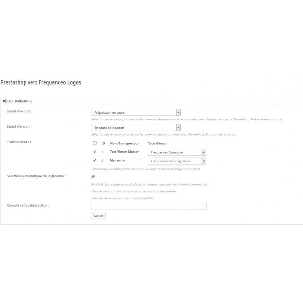 module - Préparation & Expédition - Prestashop vers Frequenceo Logos - 1