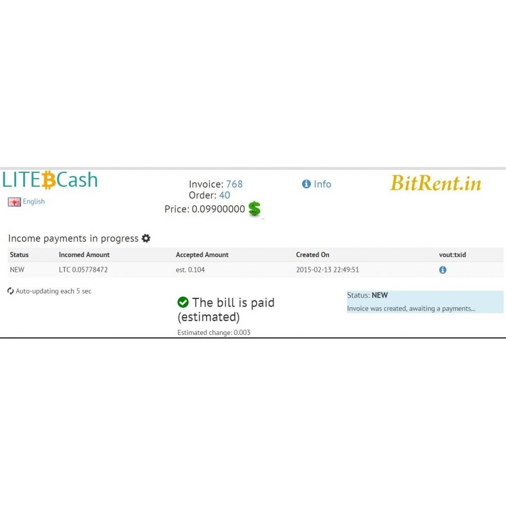 module - Other Payment Methods - Bitcoin and crypto-currencies by LITE.cash gateway - 4