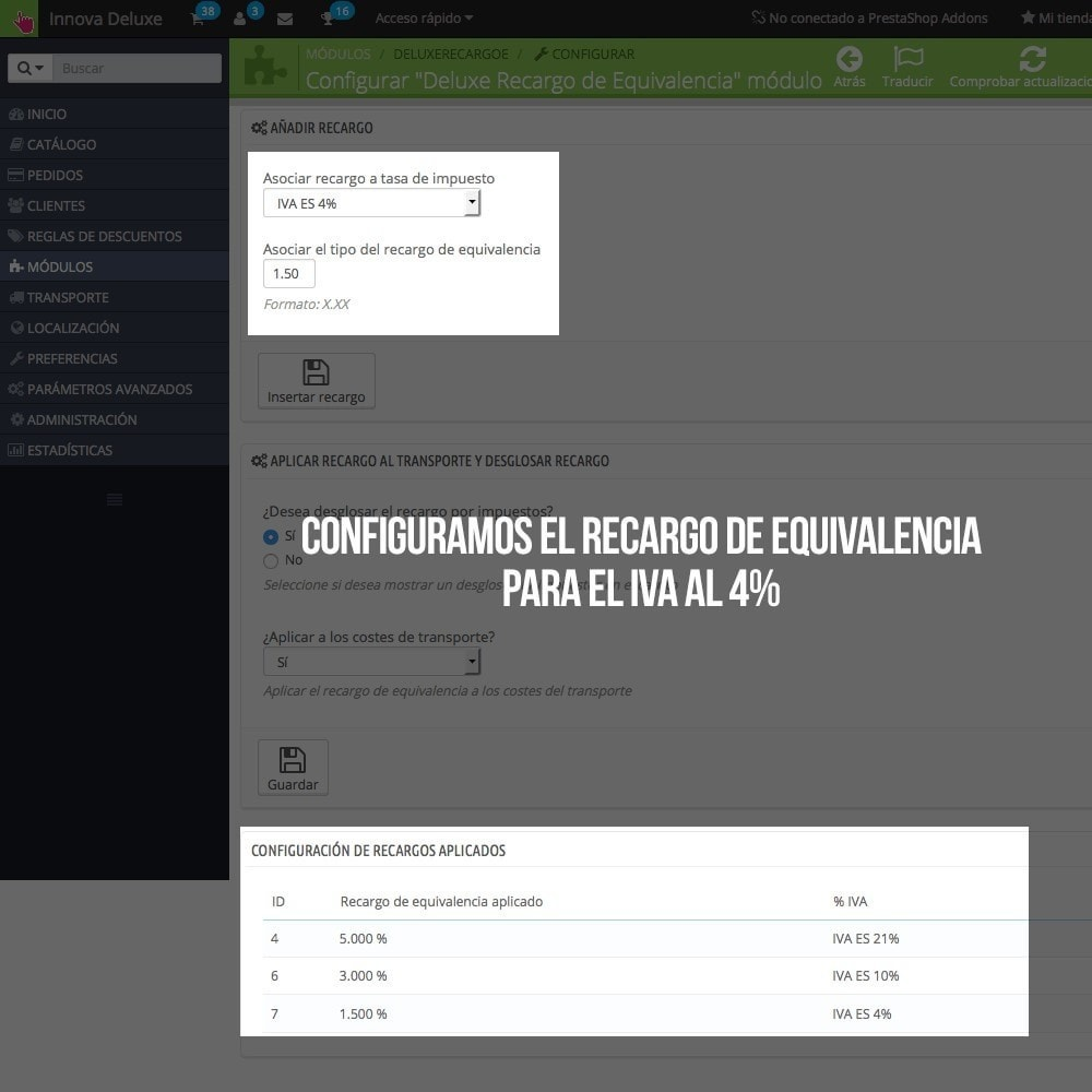module - B2B - Aplicar Recargo de equivalencia a pedidos y facturas - 7