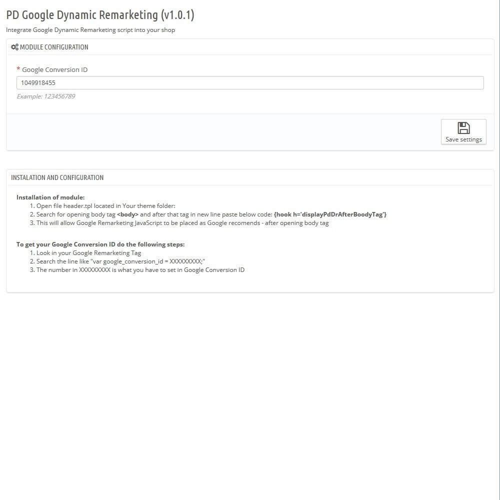 module - Перенаправление и Брошенные корзины - PD Google Dynamic Remarketing Pro - 4