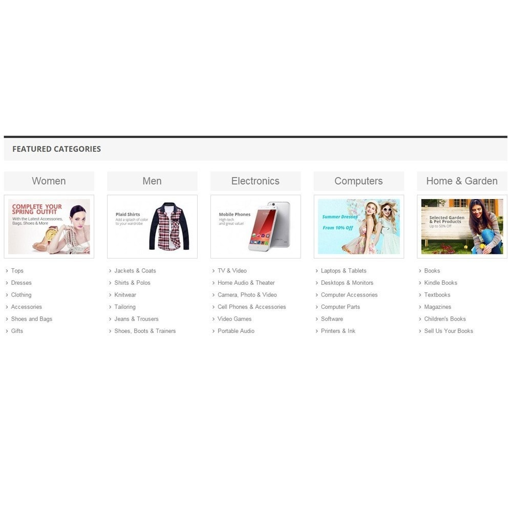 module - Productos en la página de inicio - Zero Featured Categories - Thumbnail & Subcategories - 5