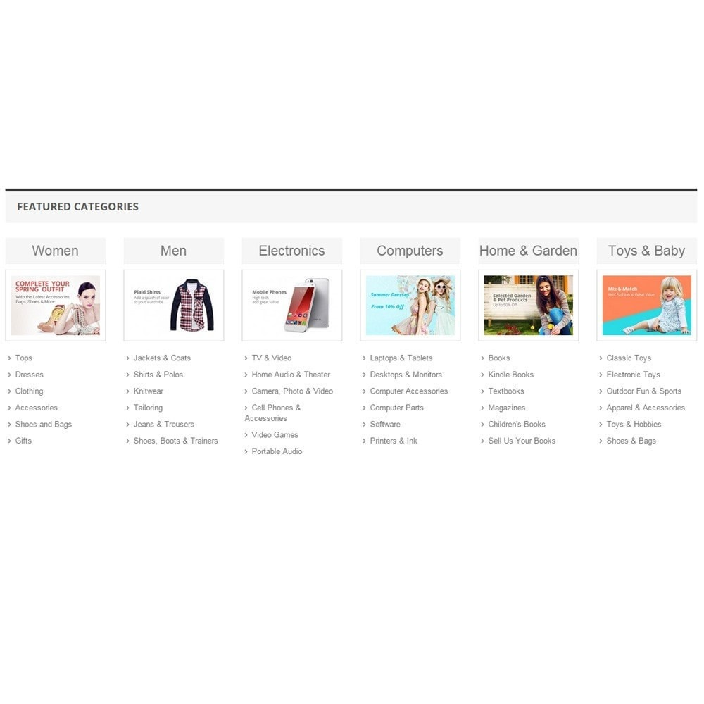 module - Productos en la página de inicio - Zero Featured Categories - Thumbnail & Subcategories - 6