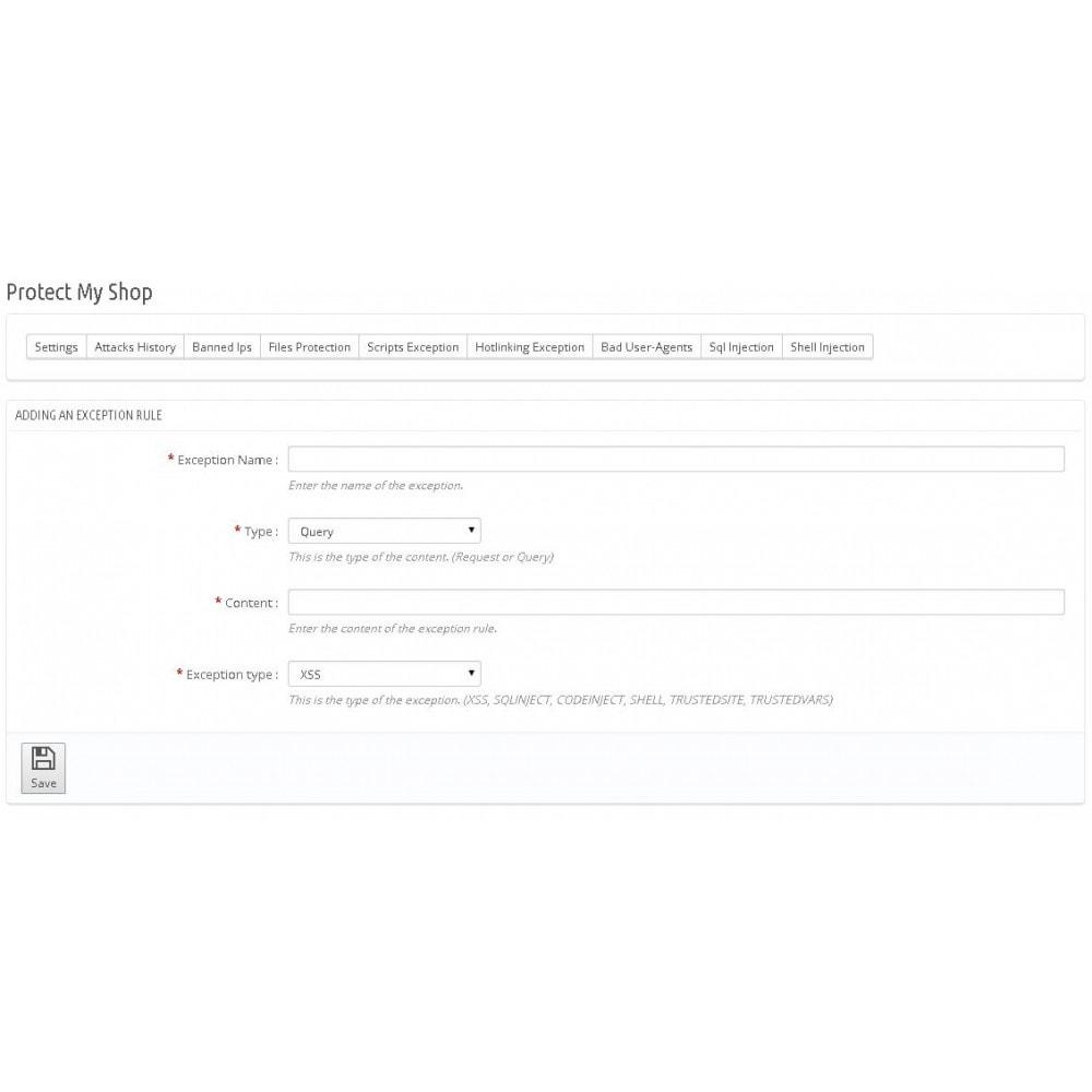 module - Безопасности и доступа - Protect My Shop - 10