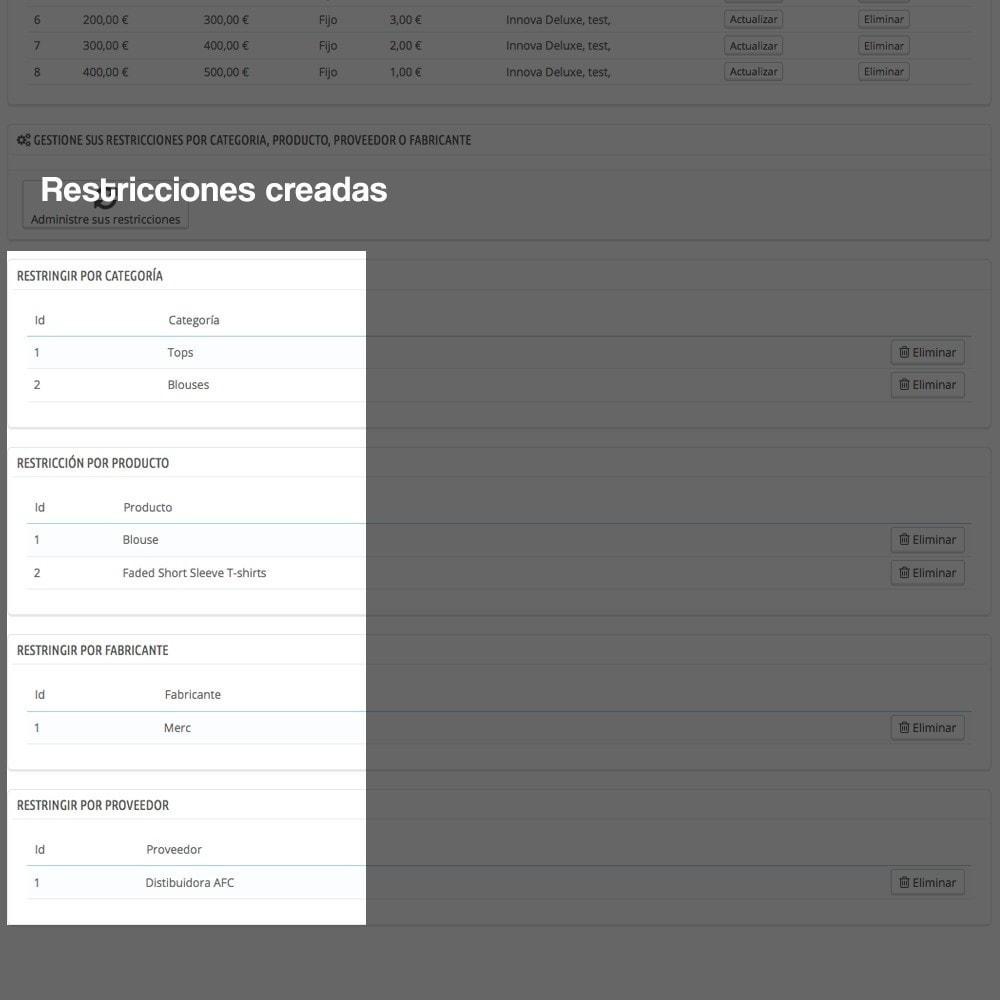 module - Pago a la Entrega (contrarrembolso) - Contra reembolso con recargo (rangos y restricciones) - 18
