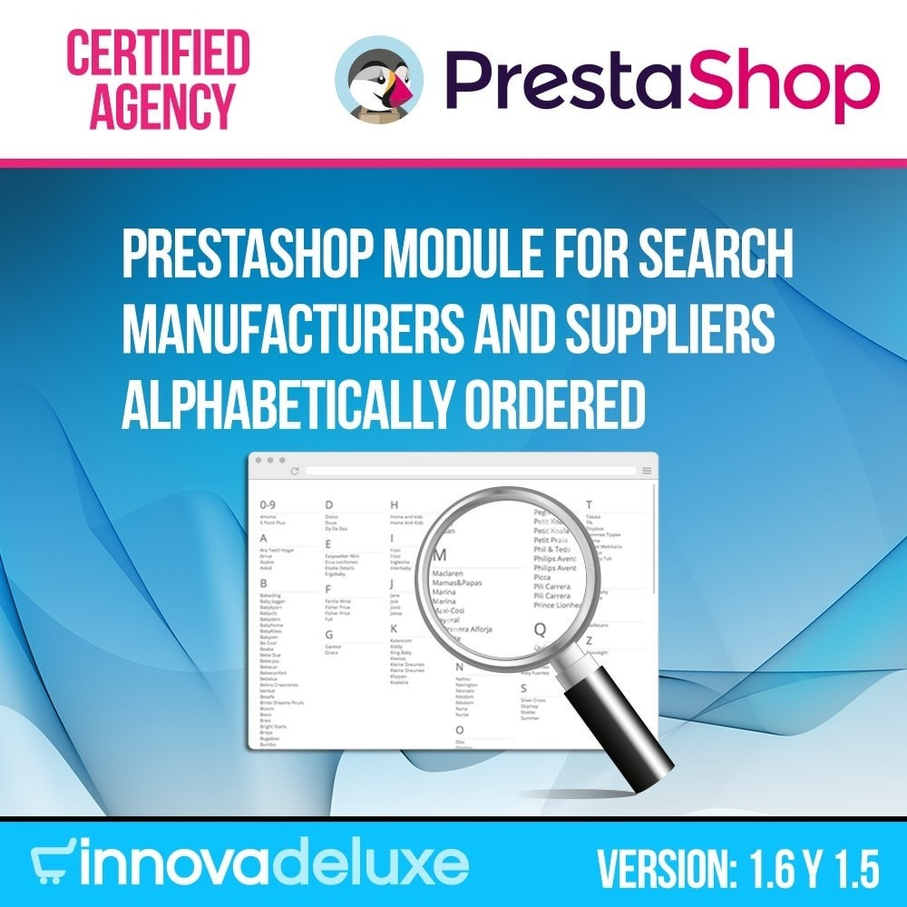 module - Search & Filters - Manufacturer or supplier alphabetical search - 1