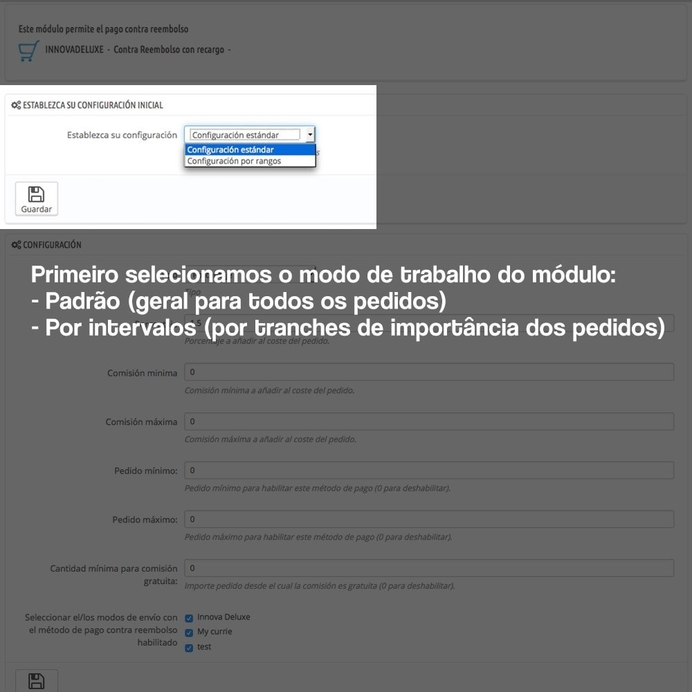 module - Pagamento em dinheiro na entrega - COD - Cashdelivery with fee (ranks and restrictions) - 2