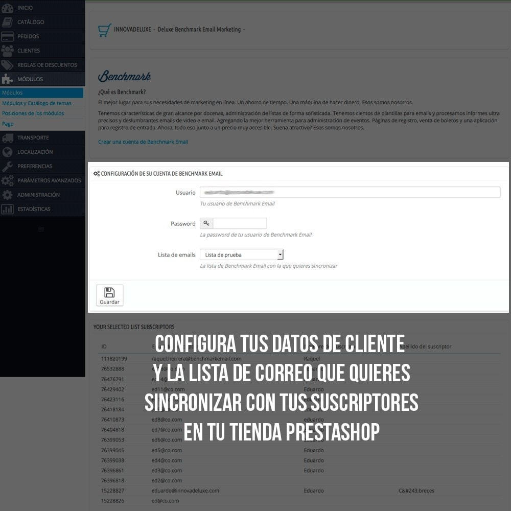 module - E-mails y Notificaciones - Integración con Benchmark Email Marketing - 4