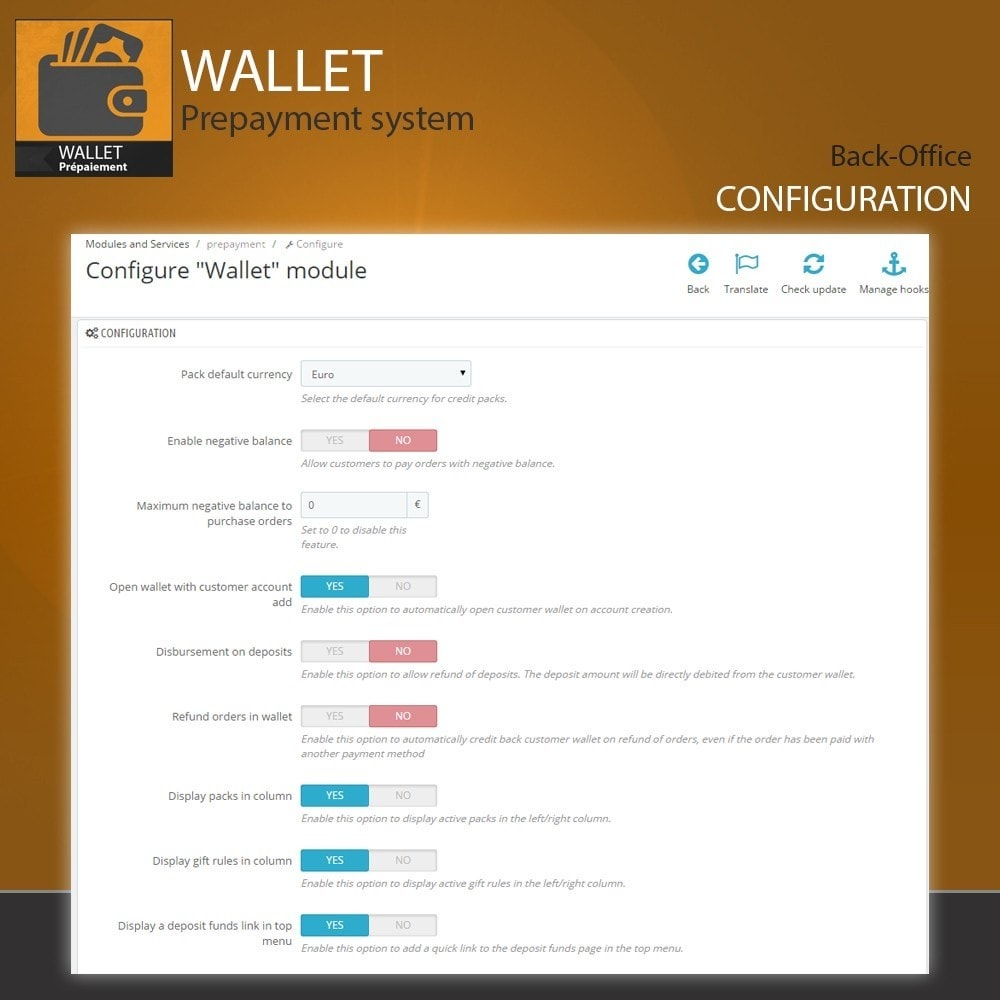 module - Payment by Card or Wallet - Wallet - Prepayment with cash back system - 2