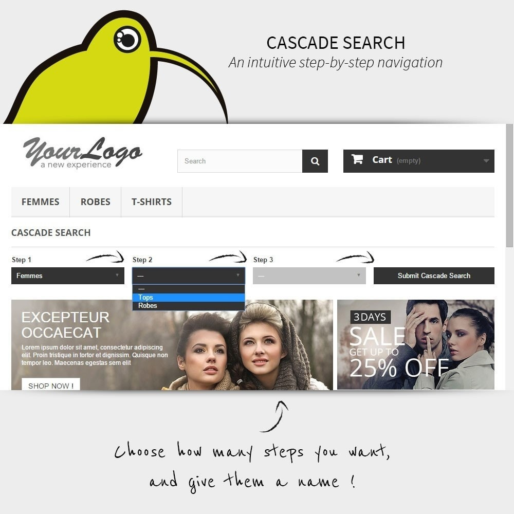 module - Suche & Filter - Search step-by-step | Cascade Search - 1