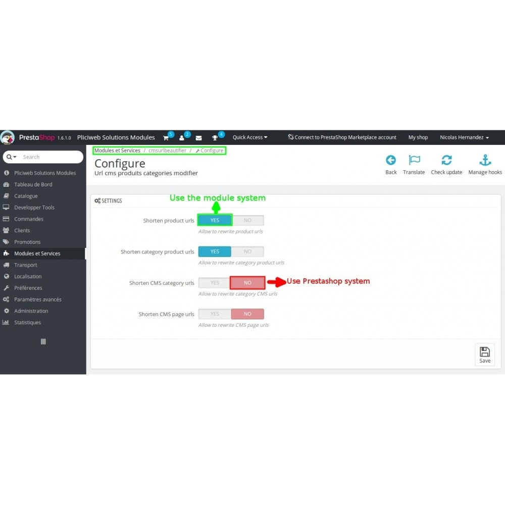 module - Gestão de URL & Redirecionamento - Url cms produits categories modifier - 11