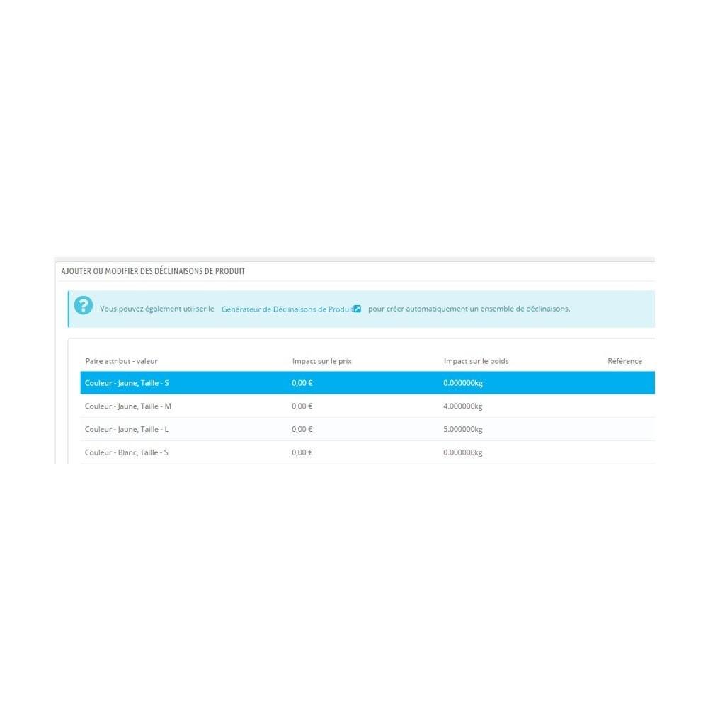 module - Tailles & Dimensions - Affichage du poids sur la fiche produit - 3