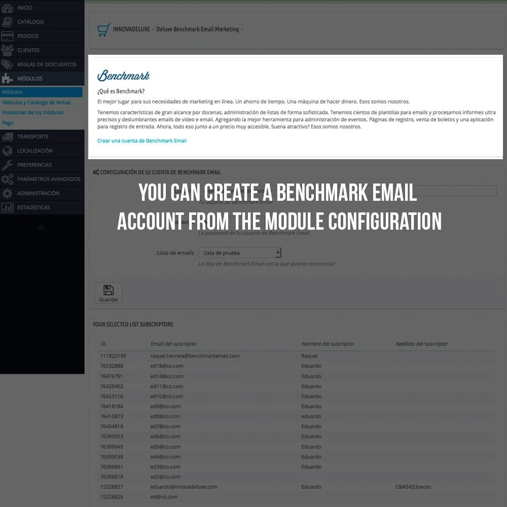 module - E-mails & Notícias - Benchmark Email Marketing Integration - 3