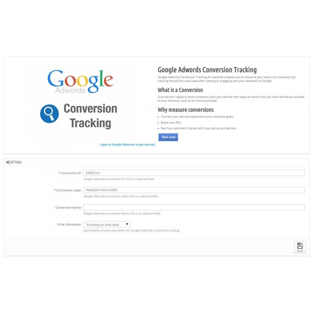 module - Analyses & Statistieken - Google Adwords Conversion Tracker - 2