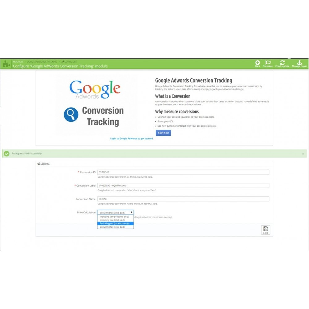 module - Análises & Estatísticas - Google Adwords Conversion Tracker - 3