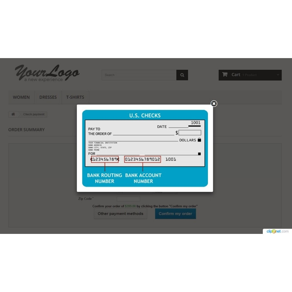 module - Autres moyens de paiement - Pay by cheque/check with customer information - 7