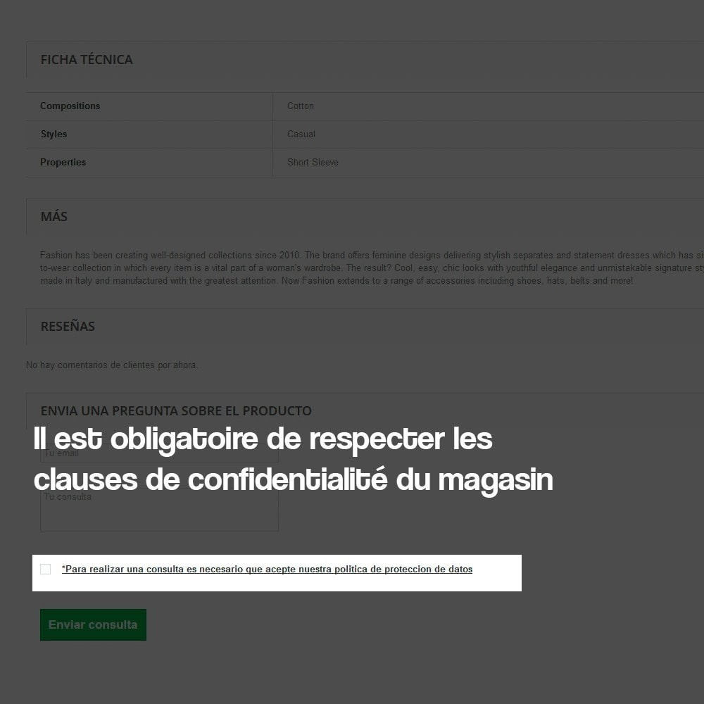 module - Législation - Demande de renseignements à partir de la page produit - 4