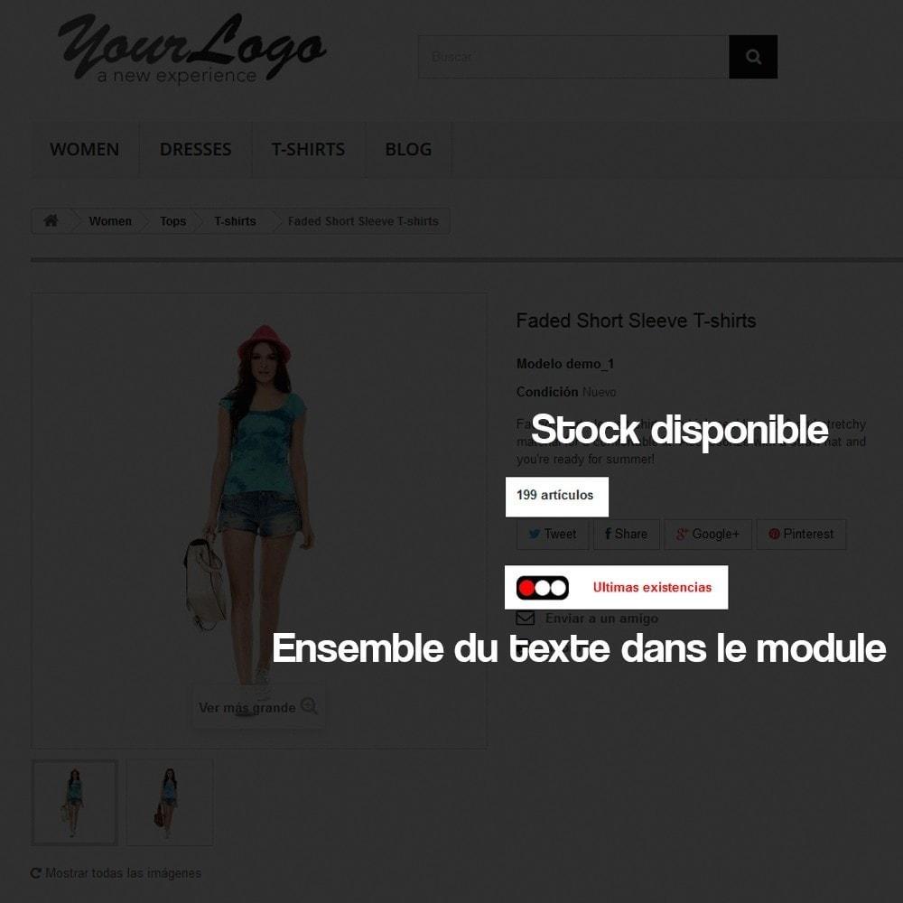 module - Information supplémentaire & Onglet produit - Indicateur de stock disponible sur fiche article - 7