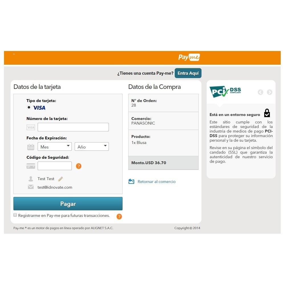 module - Pago con Tarjeta o Carteras digitales - Pago tarjeta de crédito Alignet PayMe pago en un click - 5