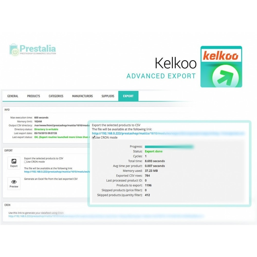 module - Comparateurs de prix - Kelkoo - Export + Advanced Filters - 6