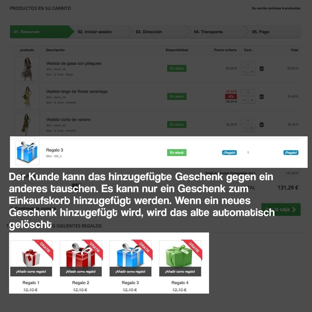 module - Promotion & Geschenke - Gifts in shopping carts to increase order price - 13