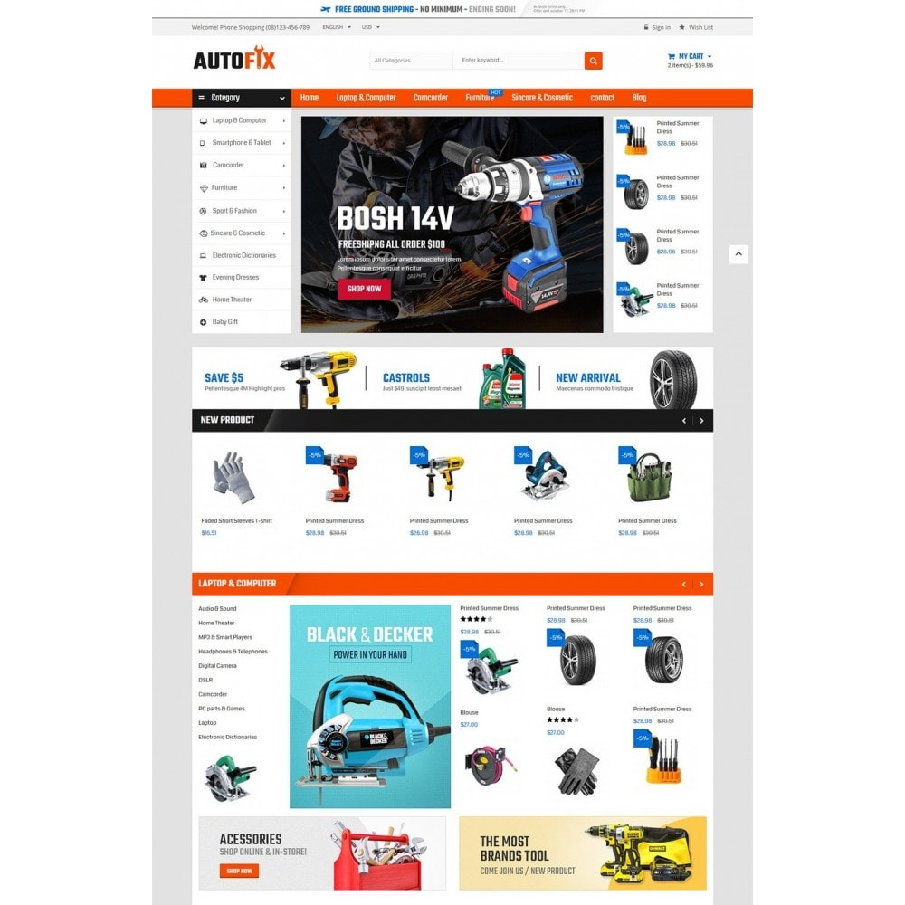 theme - Carros & Motos - Autofix - Tools Store - 2
