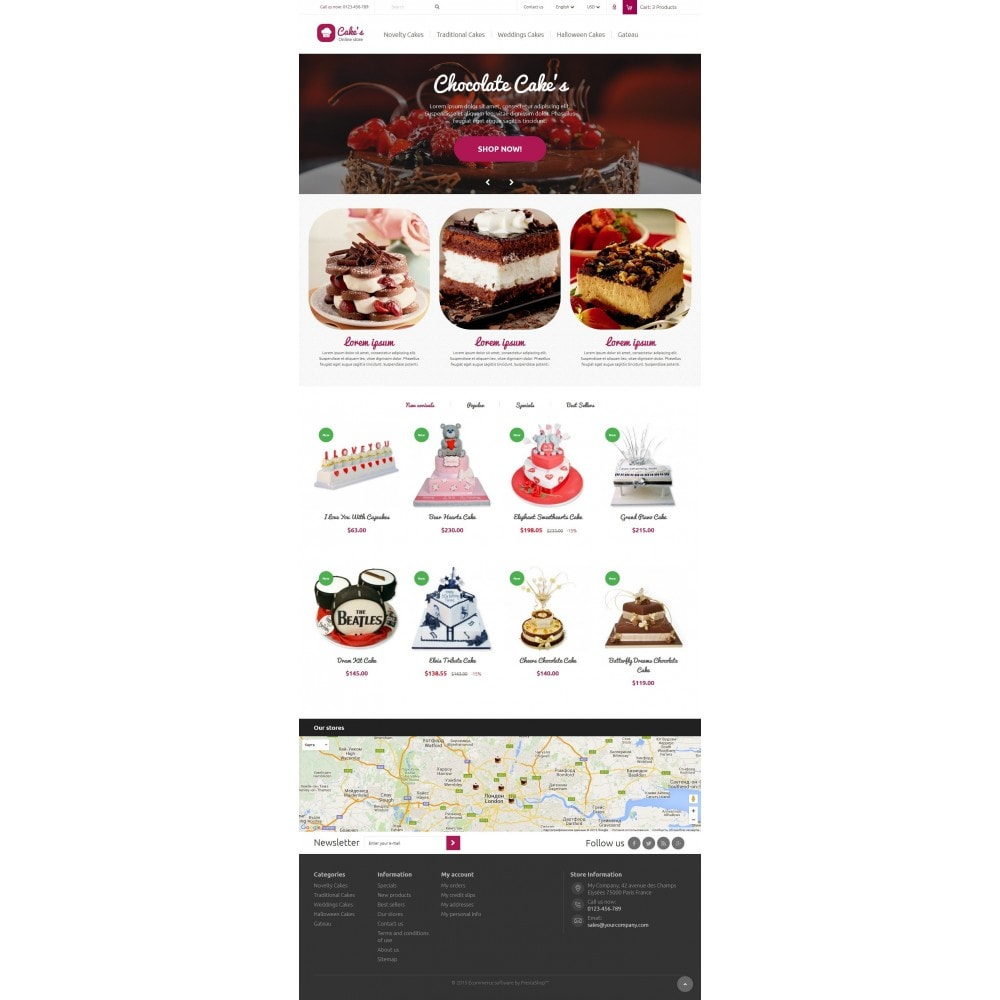 theme - Żywność & Restauracje - Cakes Online store 1.6. Responsive - 2