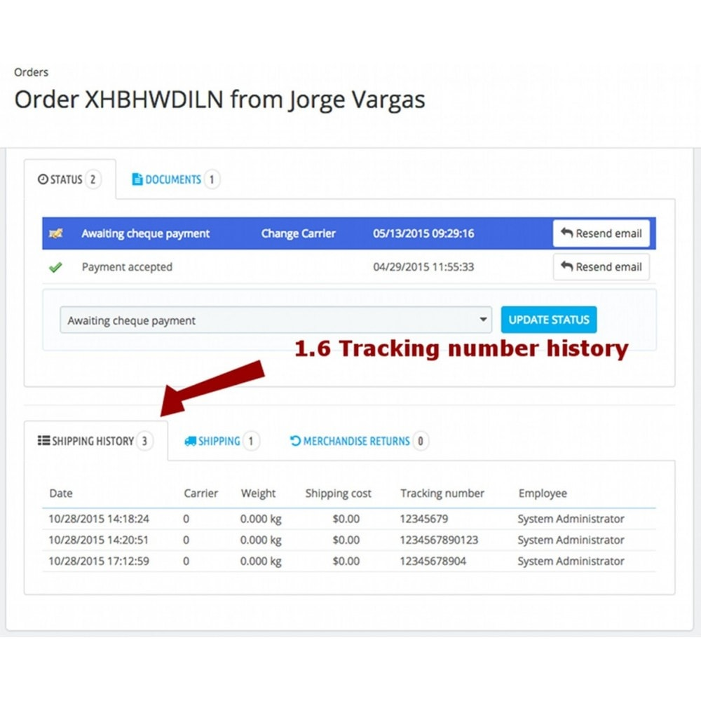 module - Transportadoras - Change carrier and tracking number history - 10