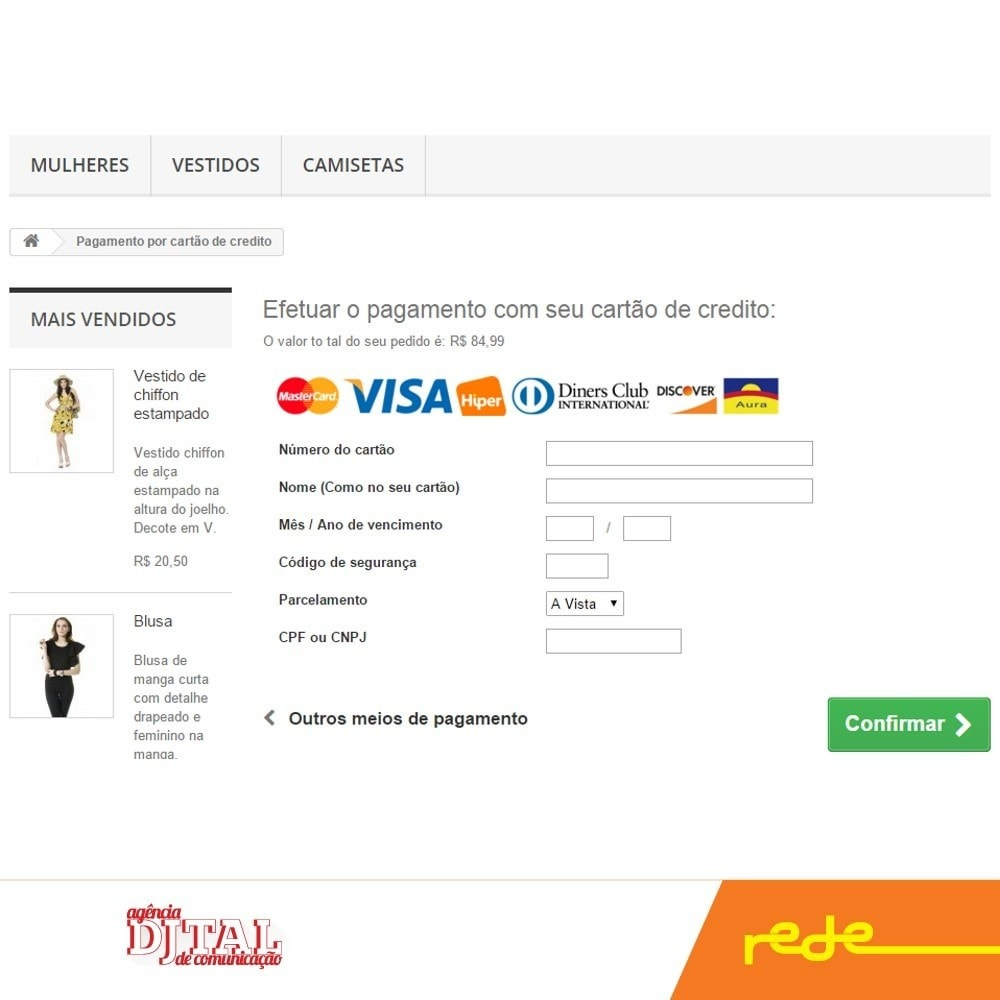 module - Creditcardbetaling of Walletbetaling - Brazilian Payment by Rede Card - Komerci - 3
