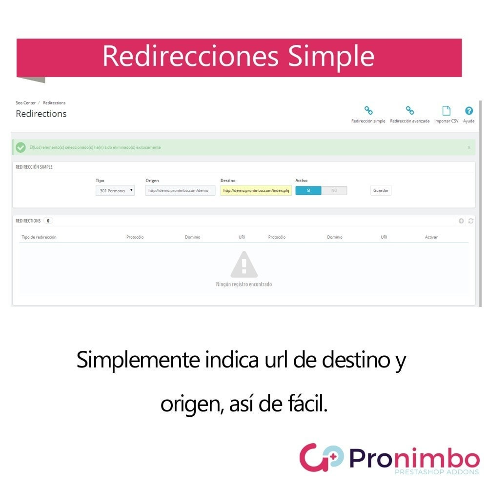 module - URL y Redirecciones - Seo Center: Redirecciones 301 / 302 - 3