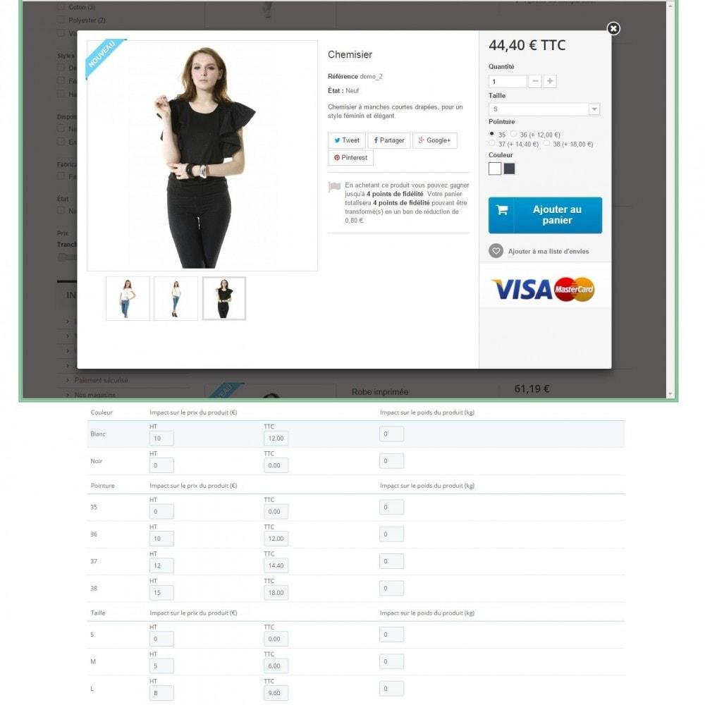 module - Déclinaisons & Personnalisation de produits - Impact sur le prix pour chaque attribut - 2
