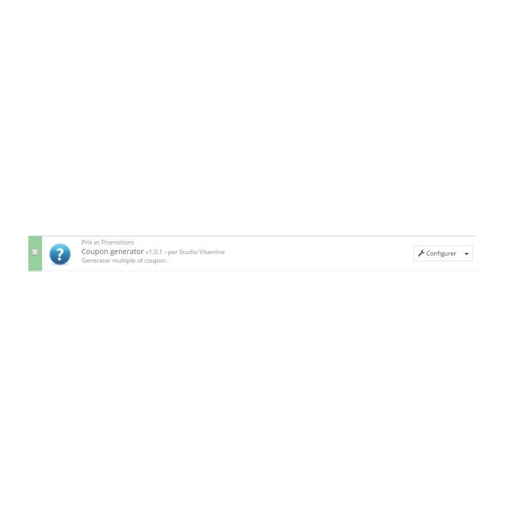 module - Promotions & Cadeaux - Studio vitamine : générateur de coupons - 1