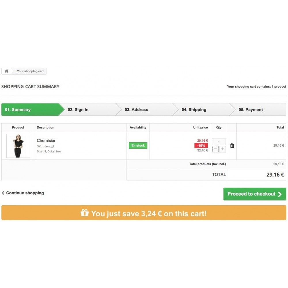 module - Cadastro e Processo de Pedido - Display the savings to your customers in shopping cart - 4
