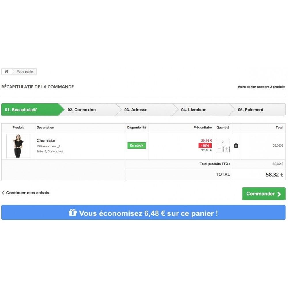 module - Inscription & Processus de commande - Total économisé sur le panier - 5
