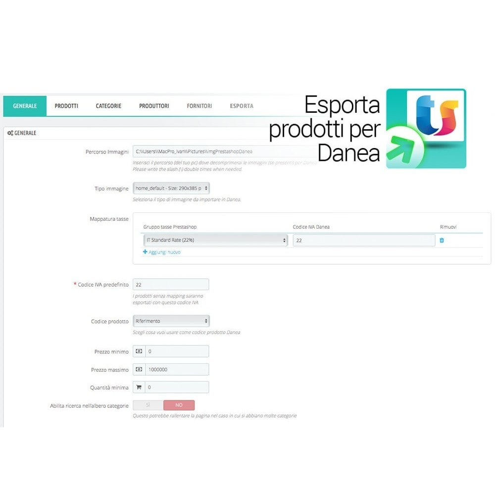module - Data Import & Export - Esporta prodotti da Prestashop a Danea - 2