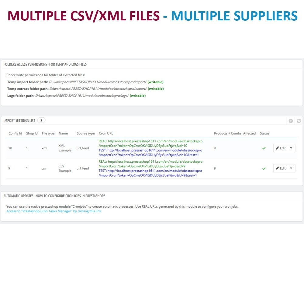 module - Data Import & Export - Massive CSV/XML Updater via URL/FTP cronjobs compatible - 2
