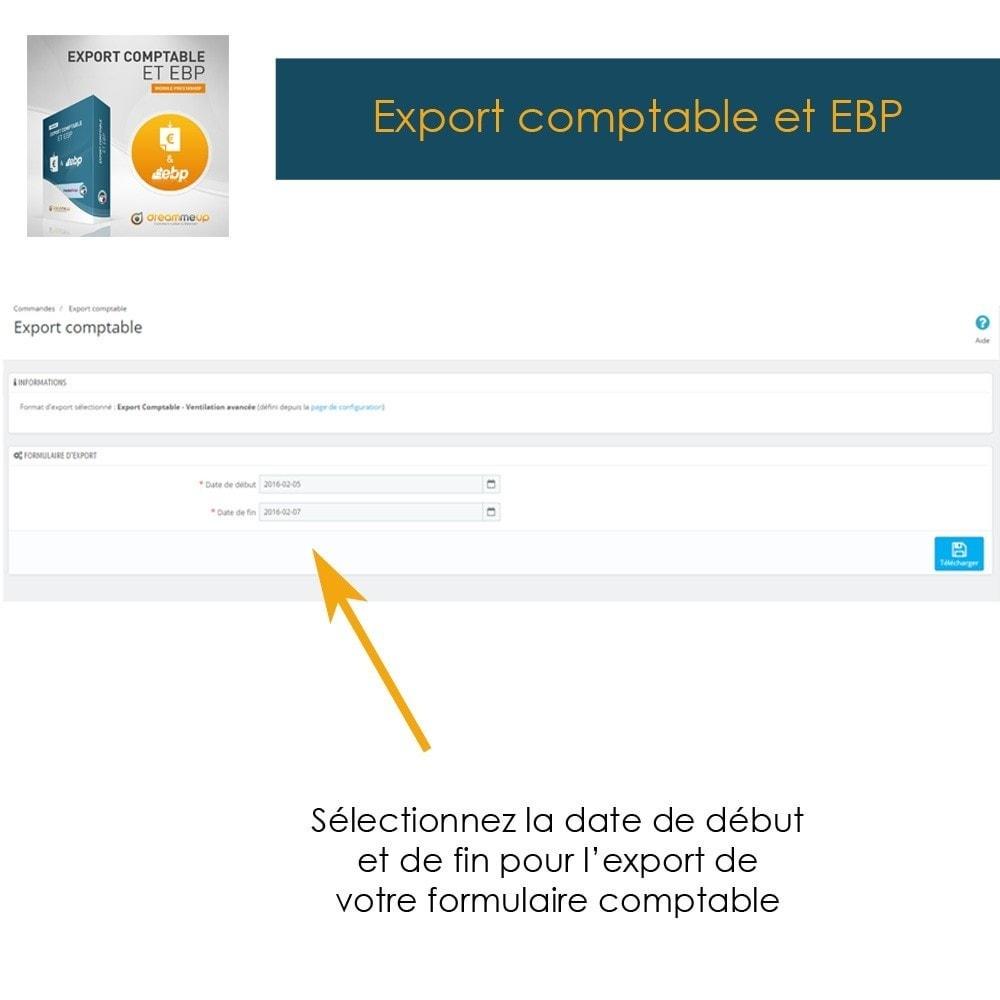 module - Connexion à un logiciel tiers (CRM, ERP...) - DMU Export Comptable et EBP - 2