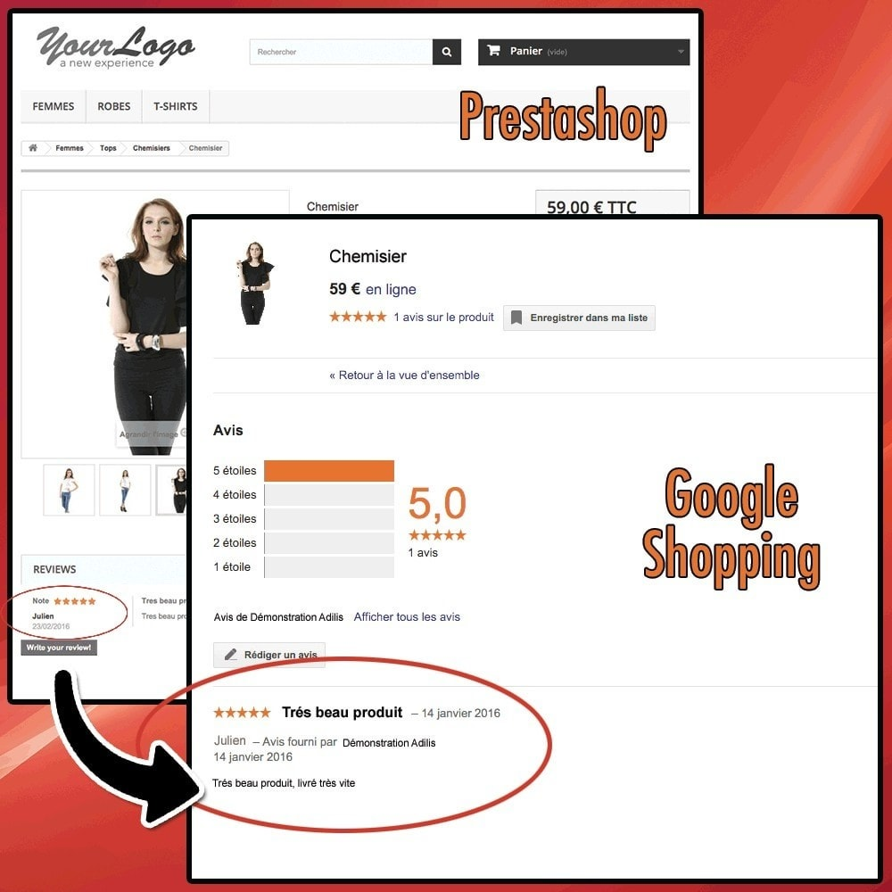 module - Comentarios de clientes - Google Shopping Product Ratings Feeds - 2