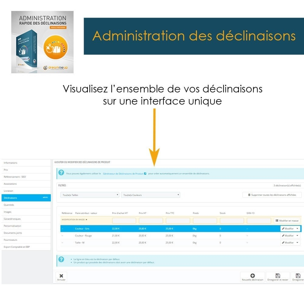module - Outils d'administration - DMU Administration rapide des déclinaisons - 2