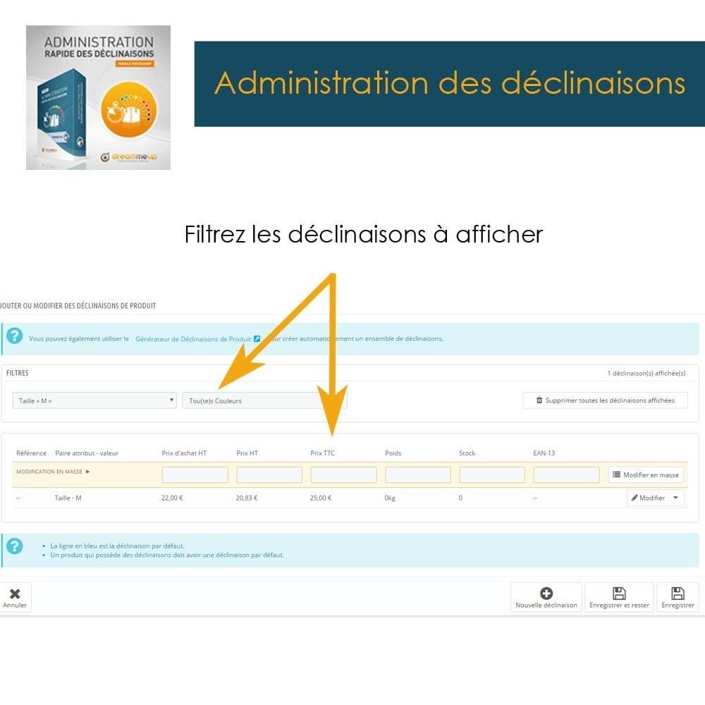 module - Outils d'administration - DMU Administration rapide des déclinaisons - 4