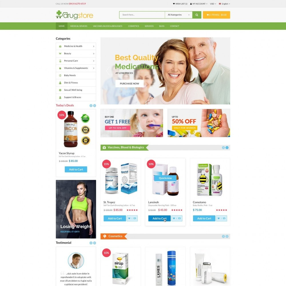 theme - Здоровье и красота - Vitamins, Skin Care, Health - DrugStore Responsive - 2