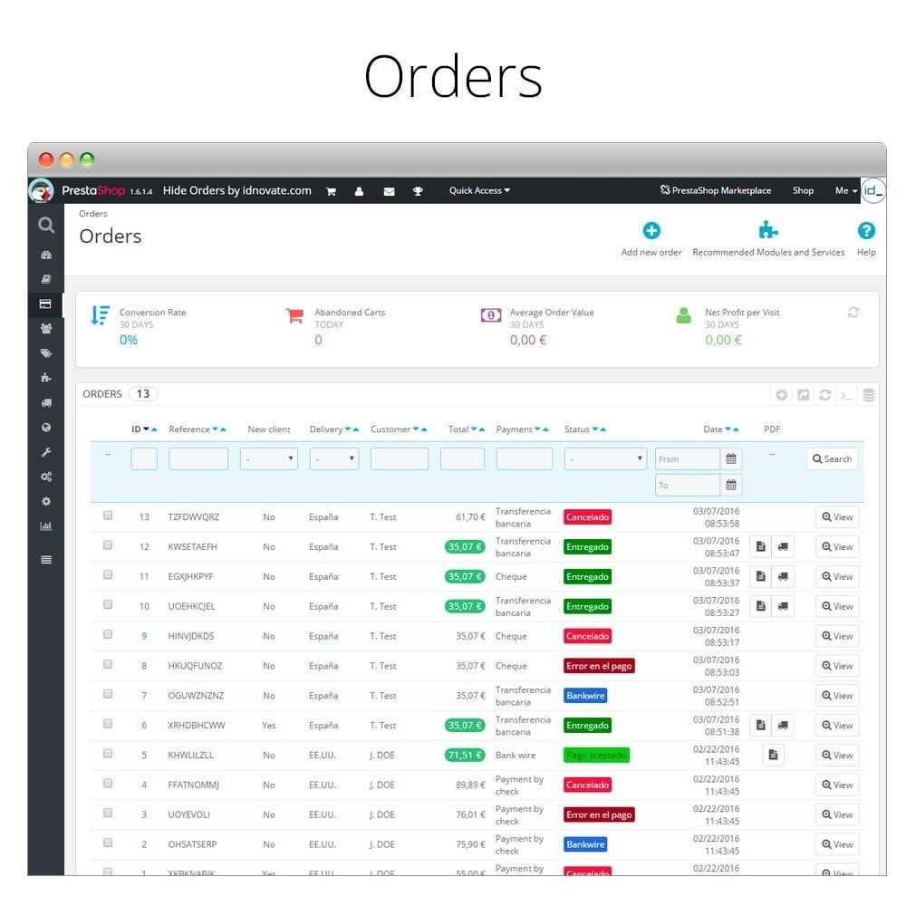 module - Gestion des Commandes - Hide orders - Hide orders by status - 3