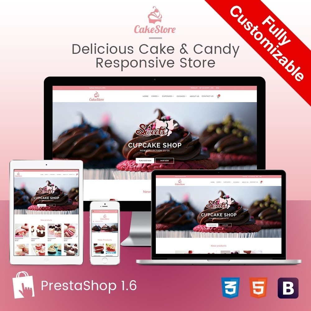 theme - Продовольствие и рестораны - Bakery, Food & Drinks - CakeStore Responsive - 1