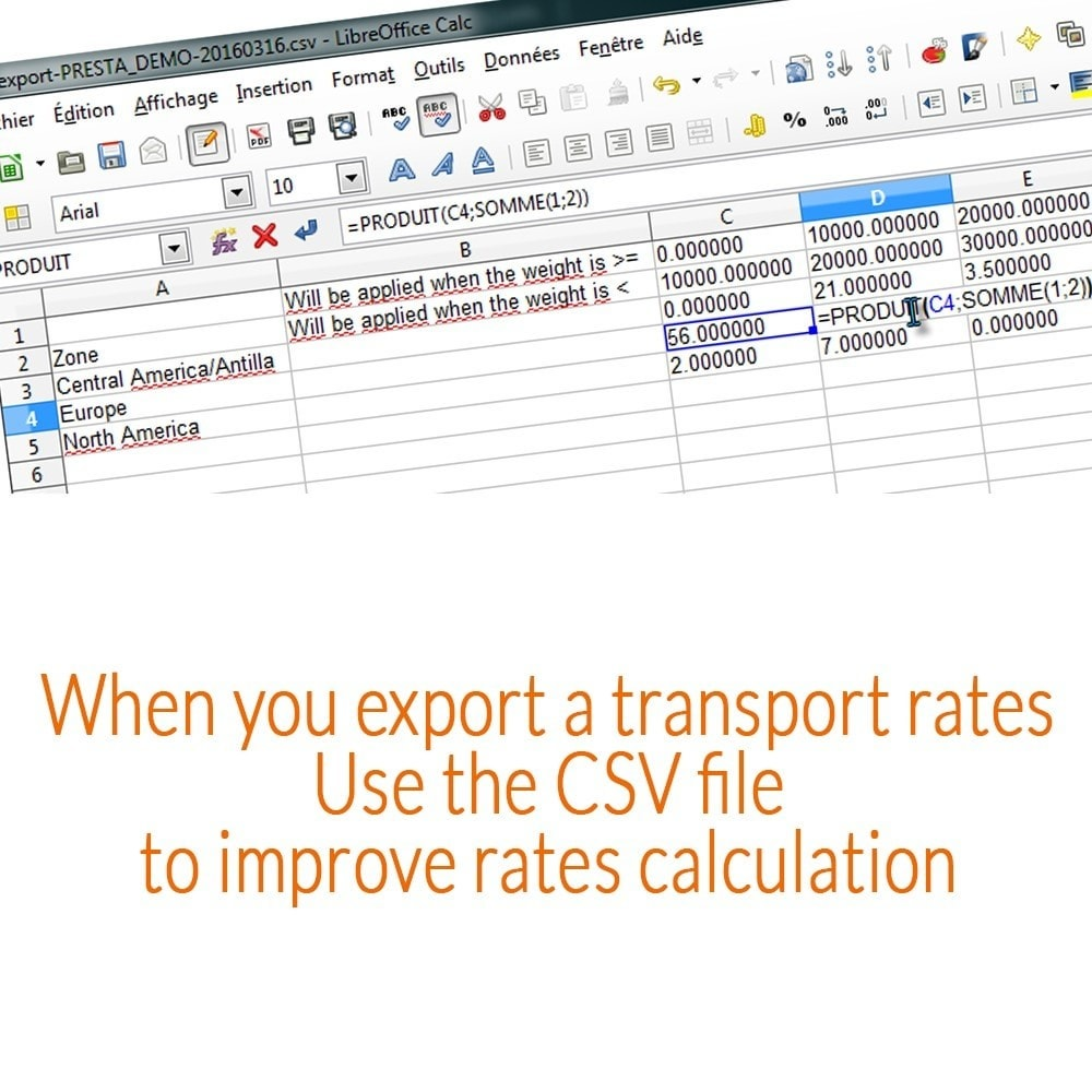 module - Gastos de transporte - Carriers rates/Shipping fees - import/export - 3