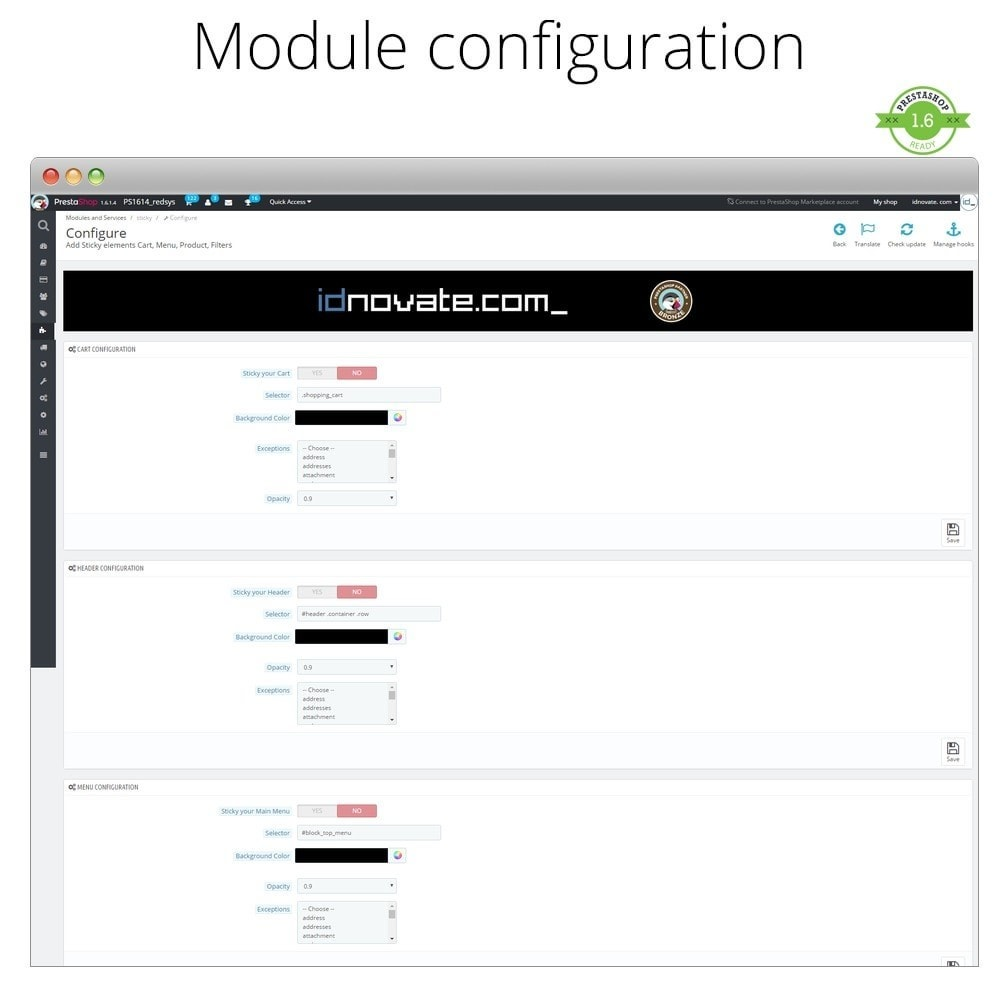 module - Page Customization - Add Sticky elements Cart, Menu, Product, Filters - 2