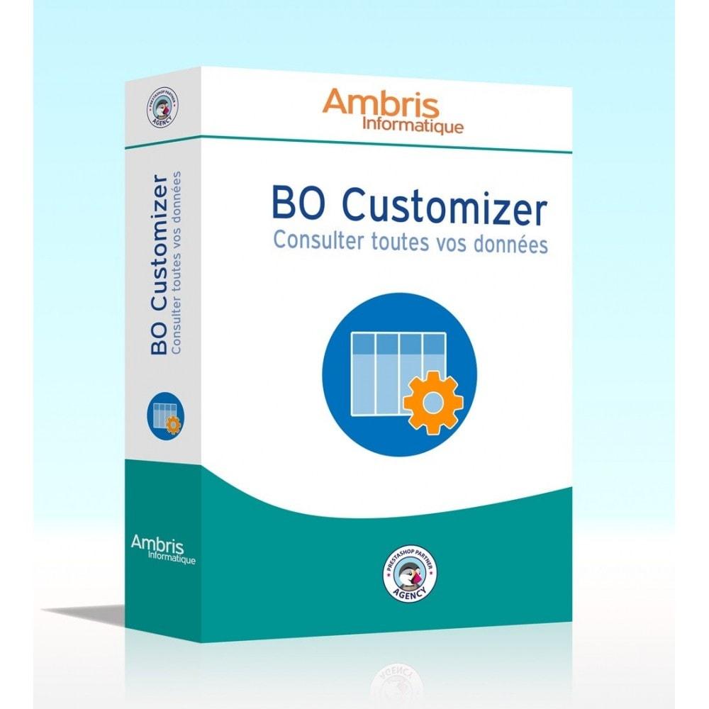 module - Outils d'administration - BO Customizer : consulter toutes vos données - 1