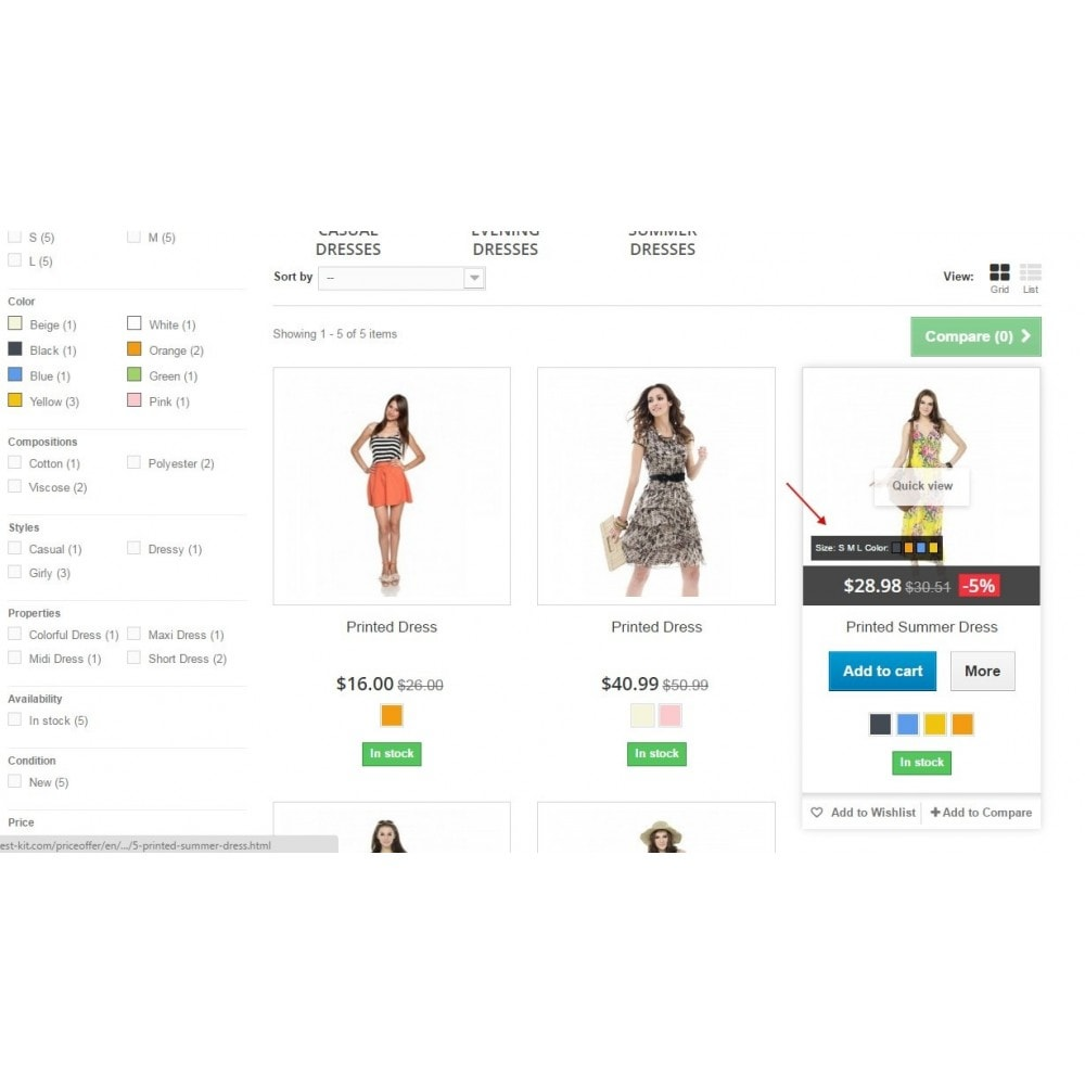 module - Déclinaisons & Personnalisation de produits - Show combinations / Hover product list attributes - 1