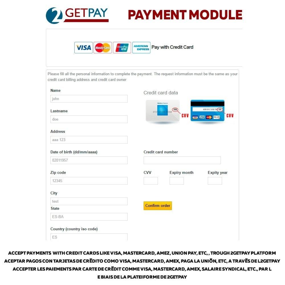 module - Pago con Tarjeta o Carteras digitales - 2getpay pasarela de pago & tarjetas de crédito - 1