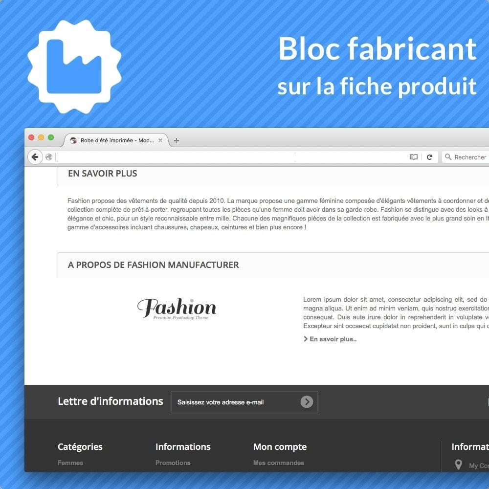 module - Information supplémentaire & Onglet produit - Bloc fabricant sur la fiche produit - 1