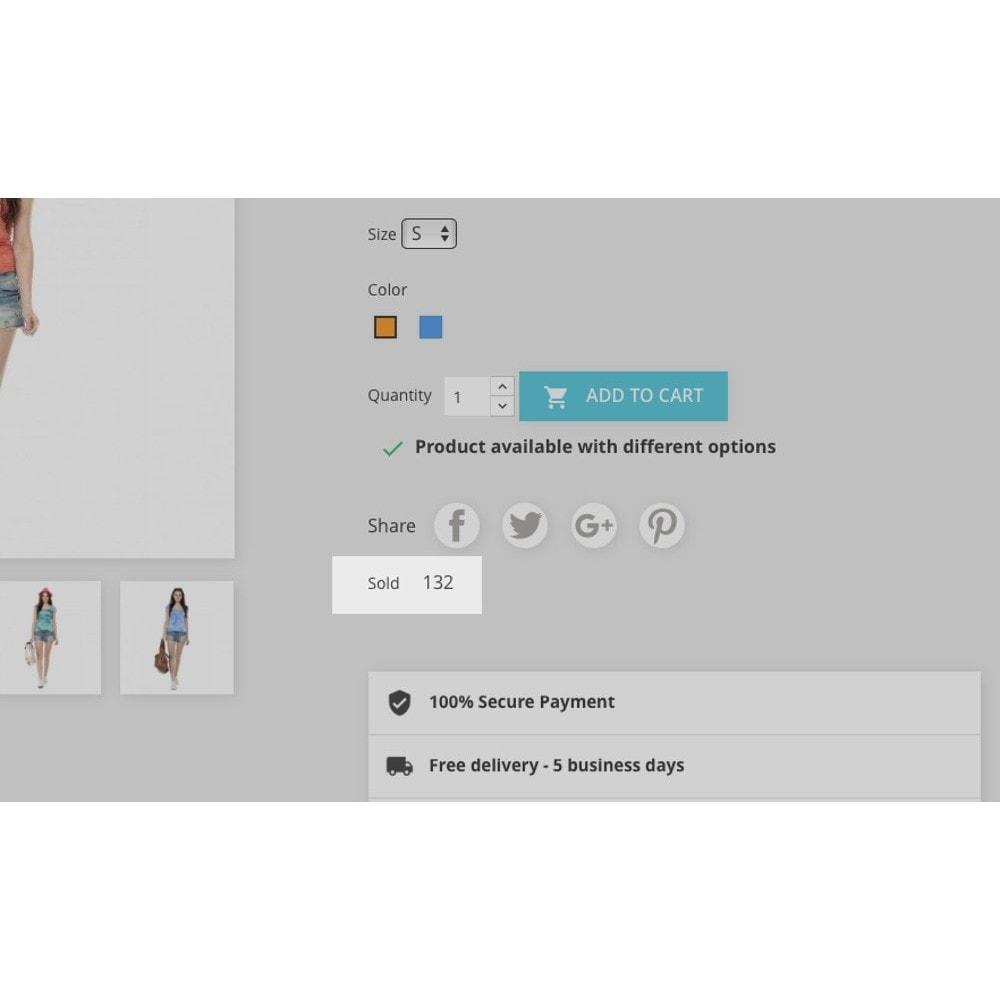 module - Dodatkowe informacje & Zakładka produktu - Product number of sales - 2